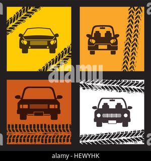 taxi cars vehicles icon on squares with wheels prints. colorful design. vector illustration - Stock Photo