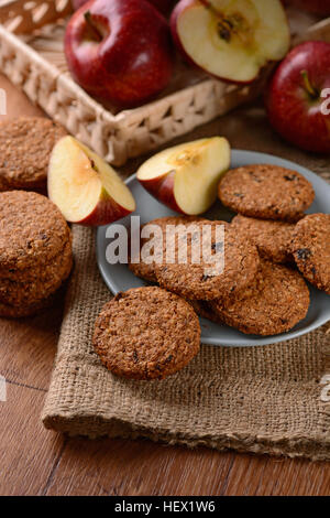 homemade cookies with cereal and apples - Stock Photo