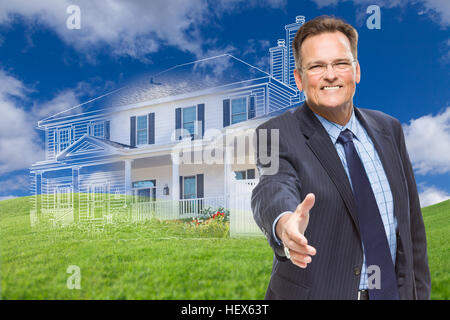 Smiling Male Agent Reaching for Hand Shake in Front of Ghosted New House. - Stock Photo