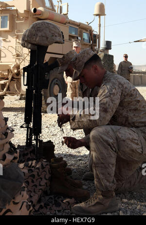 U.S. Marine Corps Lance Cpls. Charles Peltier and Zechariah Nichols, both with Alpha Company, 1st Battalion, 8th - Stock Photo