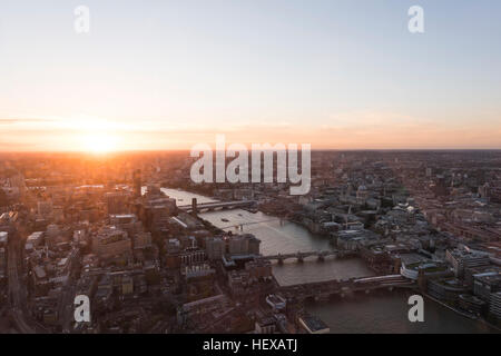 Sunset cityscape view from The Shard, London, UK - Stock Photo