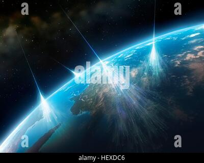 Cosmic rays.Artwork of high-energy particles radiation from star in deep space (cosmic rays) impacting molecules - Stock Photo