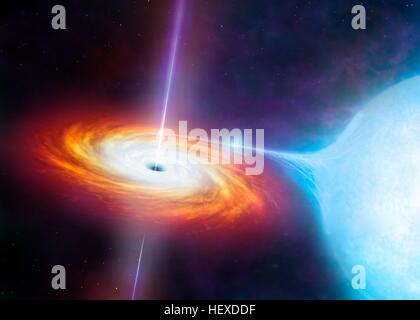 Artist's impression of an X-ray binary. These binary star systems comprise a compact star (black hole or neutron - Stock Photo