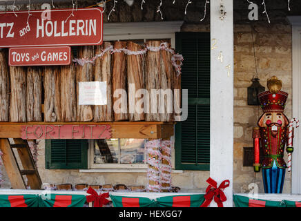 Nutcracker in front of toy store on Main Street in Fredericksburg, Texas - Stock Photo