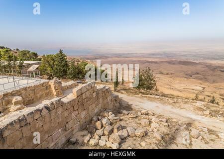 Jordan, Mount Nebo, View towards Jericho and Jordan Valley - Stock Photo