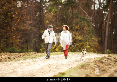 Senior couple walking in the woods with her dog - Stock Photo