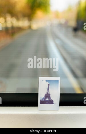 France, Paris, instant picture of the Eiffel Tower on a tourist bus - Stock Photo