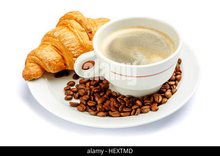fresh croissant and coffee on white background - Stock Photo