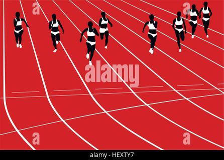 group women runners running sprints in stadium. black silhouette vector illustration - Stock Photo