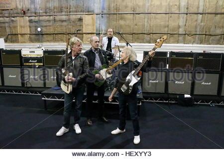 File photo dated 03/03/13 of the original members of Status Quo (left-right) Rick Parfitt, Francis Rossi, Alan Lancaster - Stock Photo