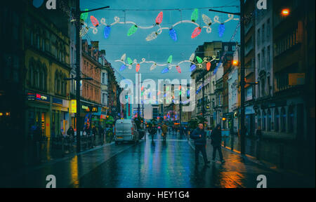 St Mary's Street in Cardiff at Christmas time. - Stock Photo