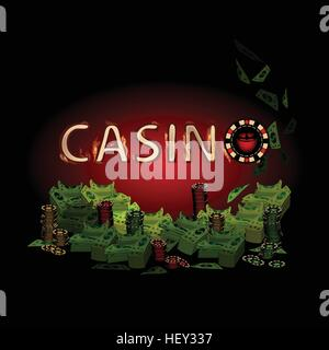 Casino fire letters on a dark background of a lot of money. Simple fashion symbol for web site design or a button - Stock Photo
