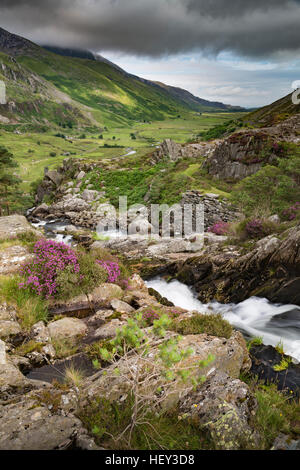 A waterfall along Nant Ogwen at pont pen-y-benglog flows the Ogwen Valley, Snowdonia. - Stock Photo