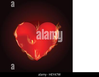 the heart of the blazing fire. Valentine s Day. A simple symbol for web site design or a button for mobile applications. - Stock Photo