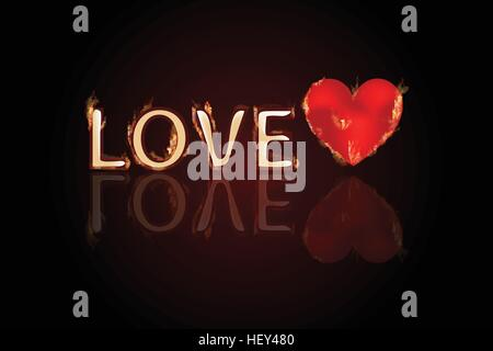love letter with heart in the fire. Valentine s Day. A simple symbol for web site design or a button for mobile - Stock Photo