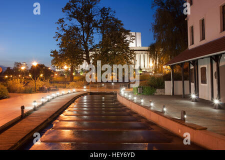 Water cascades on canal at night at Mill Island in Bydgoszcz, Poland, Europe - Stock Photo