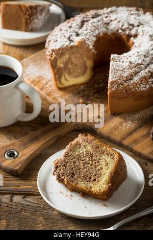 Homemade Cinnamon Coffee Cake with Powdered Sugar - Stock Photo