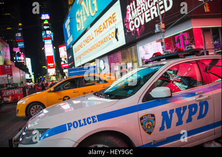NEW YORK CITY - DECEMBER 23, 2016: NYPD police car stationed in Times Square as the city prepares for New Year's - Stock Photo