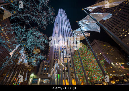 NEW YORK CITY - DECEMBER 23, 2016: Christmas lights decorate the city for the holiday season. - Stock Photo