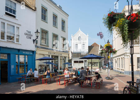 Outdoor seating at The Cupcake and Greedy Cow cafes, Market Place, Old Town, Margate, Kent, England, United Kingdom - Stock Photo