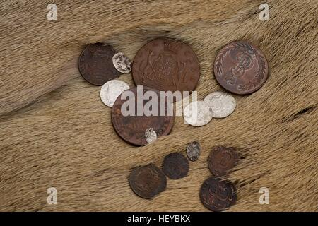 Ancient coins on the skin background - Stock Photo