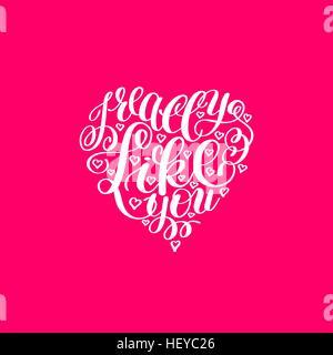I Really Like You. Love Letter on Heart Shape, Text