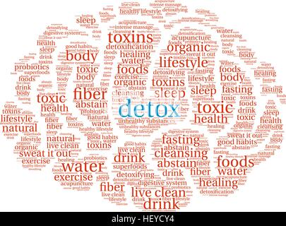 Detox word cloud on a white background. - Stock Photo