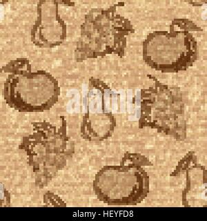 Seamless pattern with fruits in hand drawn style - vector illustration - Stock Photo