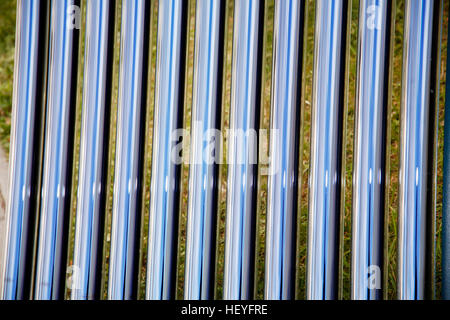 Elements of solar heating system. Details of evacuated tube solar collector - Stock Photo