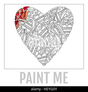 Decorative Love Heart. Vector illustration. Coloring book for adult and older children. - Stock Photo