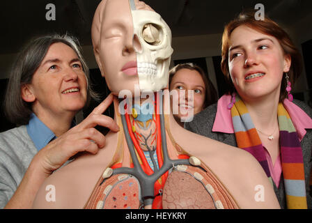 Girl students at the Royal High School, Bath, study anatomy in a ...