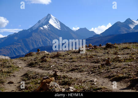 High Mountains around Chandra Taal lake in Spiti valley, India Himachal Pradesh - Stock Photo
