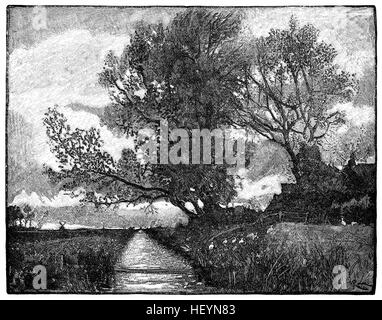 A Fen Dyke. An engraving from the November 1883 issue of The English Illustrated Magazine. From a drawing by R. - Stock Photo