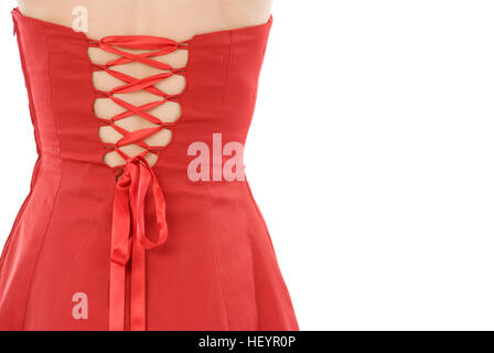 The back of a woman wearing a red dress - Stock Photo