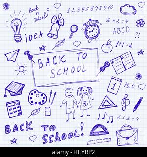 Back to school doodles. Hand drawn school icons set. Sketch school icons set. Vector illustration. - Stock Photo