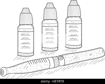 Electronic cigarettes sketch, hand drawing style. Pocket hookah. Vector illustration - Stock Photo