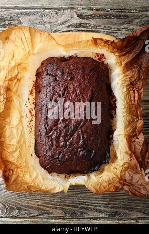Homemade chocolate cake , food top view - Stock Photo