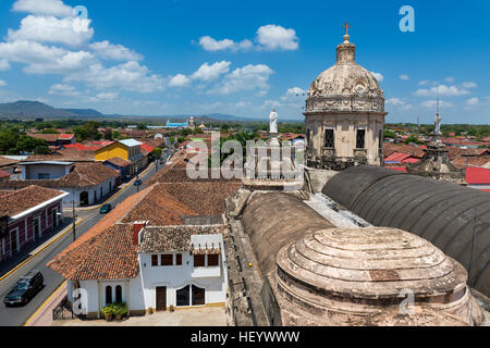 View of the colonial city of Granada in Nicaragua, Central America, from the rooftop of the La Merced Church (Iglesia - Stock Photo