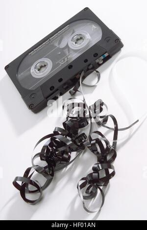 Audio cassette tape, tape jam (jammed tape) - Stock Photo
