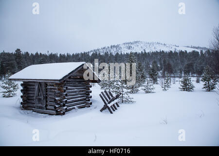 Salla, Finland. 25th Dec, 2016. Steady snowfall overnight and -5 Centigrade temperatures contributed to a beautiful - Stock Photo