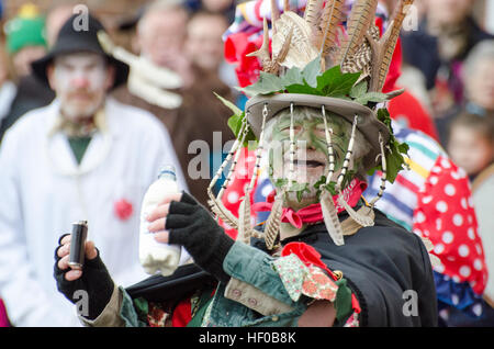 Wantage, UK. 26 Dec 2016. The character of Jack Vinney played in a traditional Mummers Folk Play performed annually - Stock Photo