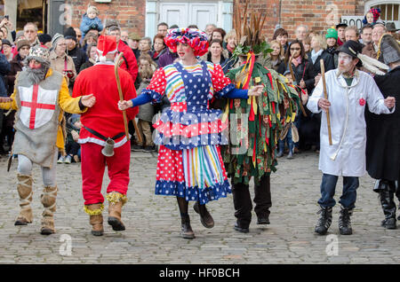 Wantage, UK. 26 Dec 2016. The characters of a traditional Mummers Folk Play performed annually on Boxing Day in - Stock Photo