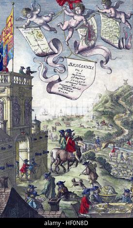 JOHN OGILBY (1600-1676) Scottish writer and cartographer. Frontespiece of his 1675 Britannia Atlas - Stock Photo