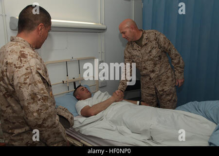 U.S. Marines Maj. Gen. David H. Berger, commanding general, 1st Marine Division (FWD), shakes hands with Army Spc. - Stock Photo