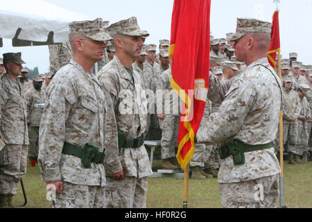 Sgt. Maj. Thomas W. Foster, sergeant major for Marine Wing Communication Squadron 28, 2nd Marine Aircraft Wing, - Stock Photo