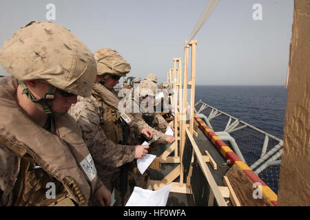 Marines with Security Platoon, Headquarters and Service Company, Battalion Landing Team 1st Battalion, 2nd Marine - Stock Photo