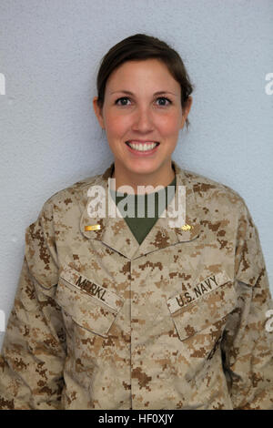 Ensign Abbie J. Merkl, the administrative officer for 2nd Dental Battalion, 2nd Marine Logistics Group, poses for - Stock Photo