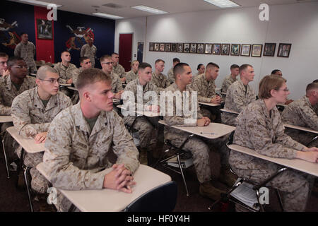 Marines with Cherry Point Corporals Leadership Course Class 274-12 listening intently during a senior enlisted panel - Stock Photo