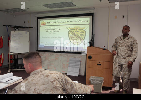 Gunnery Sgt. Valdez R. Baker, staff non commissioned officer in charge for Cherry Point Corporals Leadership Course, - Stock Photo