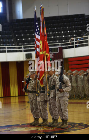 A color guard stands at attention during the Silver Star Medal award ceremony for Staff Sgt. Daniel W. Ridgeway, - Stock Photo